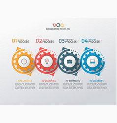 business infographic template with gears 4 vector image