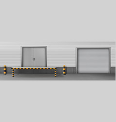 Business warehouse closed gates realistic vector