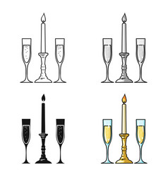 Candle between glasses with champagne icon in vector
