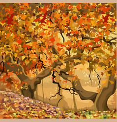 cartoon autumn forest with orange and yellow vector image