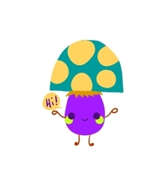 Cartoon mushroom flat mascot icon vector image