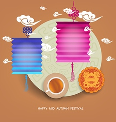 Chinese lantern festival Mid autumn full moon cake vector