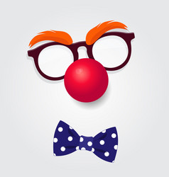 Clown glasses red nose and bow tie vector
