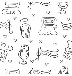 collection of music theme doodles vector image