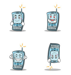 Collection phone character cartoon style set vector