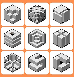 cube icon set 4 vector image