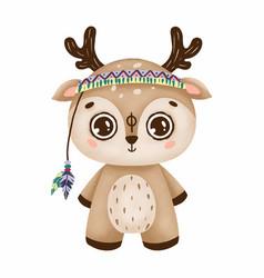 Cute boho deer with big eyes in a primitive style vector