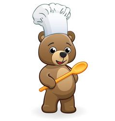 Cute cartoon teddy bear chef baker vector