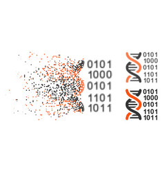 Destructed pixelated halftone genome code icon vector