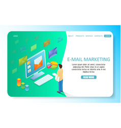 E-mail marketing landing page website vector
