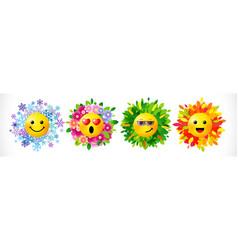 Emoji seasons icon set vector