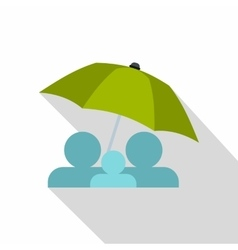 Family under green umbrella icon flat style vector
