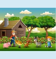 farming activities on farms with animals vector image