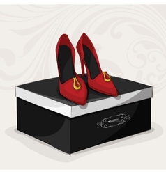 Fashion womans red shoes vector image