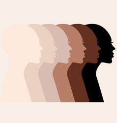 Female profile silhouettes skin colors vector