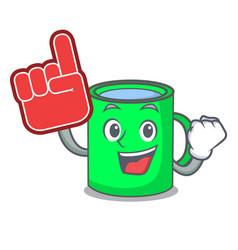 Foam finger mug mascot cartoon style vector