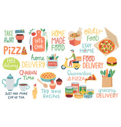 food and quarantine covid-19 letterings and other vector image