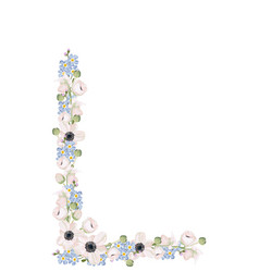forget me not and anemones - pattern frame vector image
