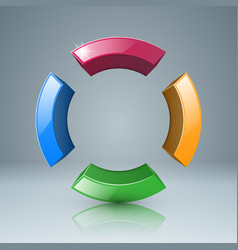 four color circle icon vector image