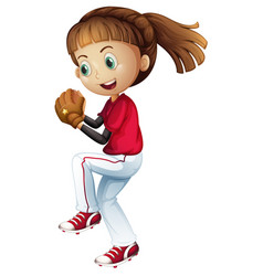 Girl playing baseball about to pitch vector