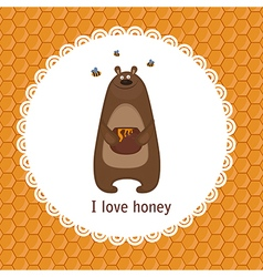 Greeting card with bear vector