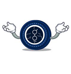 Hand up golem coin character cartoon vector