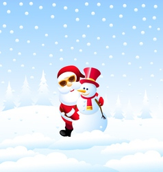 Happy Christmas and Santa with Snowman vector