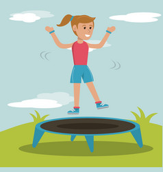 Happy girl jumping trampoline sport design vector