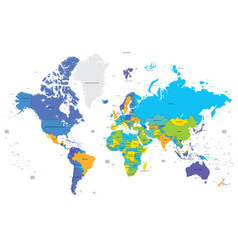 High detailed color world map apital and big vector
