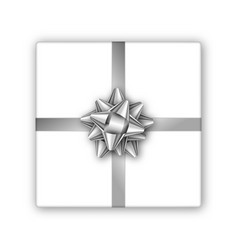 holiday gift box with silver ribbon and bow vector image
