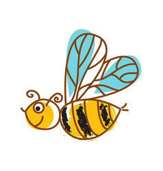 Honeybee hand drawn icon isolated vector