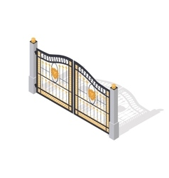 Iron Gate Opens and Closes from Middle Isolated vector image