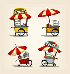 isolated cartoon street food cart fast food snack vector image