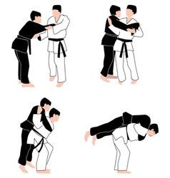 Judo techniques vector