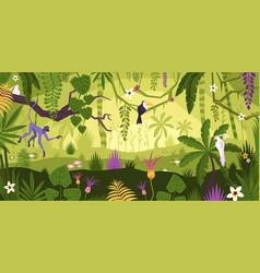 Jungle rainforest landscape composition vector
