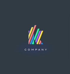 K letter logo with colorful lines design rainbow vector