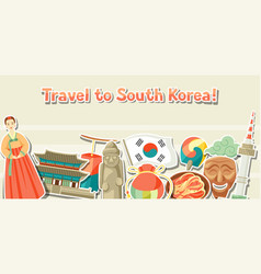 korea banner design korean traditional sticker vector image