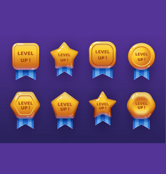 level up ui game icons casino bonus stars vector image
