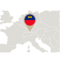 Liechtenstein on europe map vector