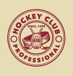logo design hockey club professional with hockey vector image