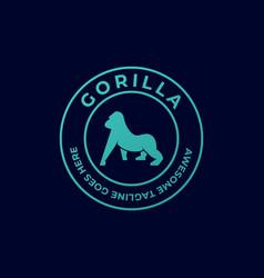 logo gorilla vintage badge vector image