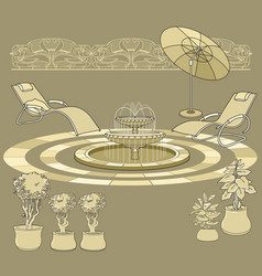 Lounge chair fountain umbrella garden accessory vector