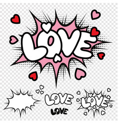 love comic text vector image