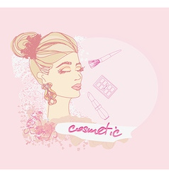 Make-up girl doodle vector