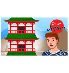 man travels to japan sightseeing traveling and vector image