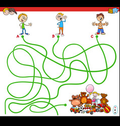 Maze with kids and toys educational game vector