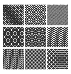 Monochrome geometric seamless textures vector image vector image