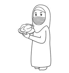 Muslim woman or mother use blue shirt ramadan vector