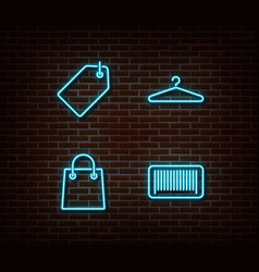 Neon fashion shopping signs isolated on bri vector
