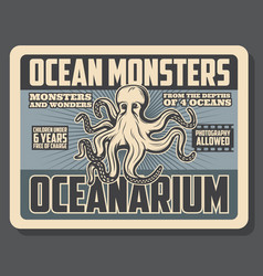 Oceanarium nautical underwater monsters adventure vector